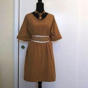 💛👗Marble Waltz Khaki Tunic Smock Dress  Sz M-L
